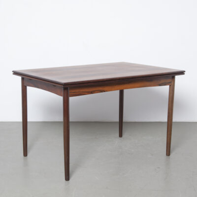 Dining room table extending table hidden leaf extra leaves solid edges rosewood veneer wood legs removable 50s 1950s fifties vintage retro Netherlands Dutch design mid-century modern extendable