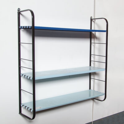 Pilastro Tomado Drentea room-steel Wall system rack unit wire steel modular variable bookshelf cabinet Holland DutchDesign vintage retro 50s 1950s fifties 1960s sixties paperback book novel mid-century modern blue 3 shades ladder shelf supports powder coated