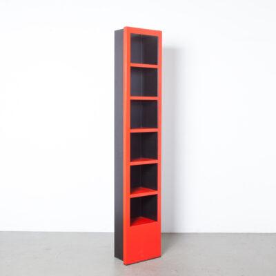 塔书架小摆设陈列架红黑粉末涂层折叠的钢板后现代橡胶基地垂直架子当代设计二手存储柜平装书小说