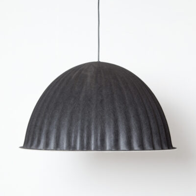 Under The Bell 82 pendant lamp hanging light Iskos-Berlin Muuto Denmark twenty-tens black felt White Mélange inside PET recycled plastic fibers tactile soft shade graphic lines subtle color palette contemporary modern design E27