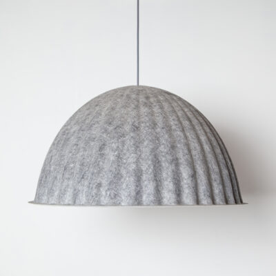 Under The Bell 82 pendant lamp hanging light Iskos-Berlin Muuto Denmark twenty-tens grey gray felt White Mélange inside PET recycled plastic fibers tactile soft shade graphic lines subtle color palette contemporary modern design E27