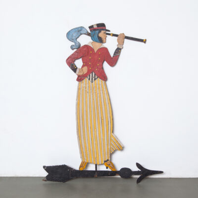 Sea Captain's Wife Polychrome Cut Metal Weathervane Decorative Arts 20th Century hand painted both sides folkart windvane traditional folk art woman looking peering through telescope vintage retro brocante fox hunt outfit english