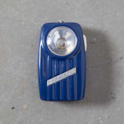 Super Cool Totally Useless vintage Pocket Flashlight no bulb battery tin painted box green red blue olive sage navy eastern block bloc planned economy soviet retro mid-century new out of the box old stock plastic lens scratched belt loop pocket clip retro