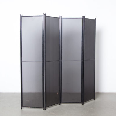 Folding Screen room divider Airon Italy high gloss black perforated metal 4 part panel snap together joints Forme E Funzioni Form and Function Pietro Arosio industrial postmodern Italian design memphis 80s 1980s eighties