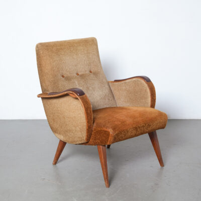 Fifties Rock Roll Armchair vintage velour upholstery two tone brown tan completely original sculpted solid rosewood armrests armpads retro design lounge easy chair seat seating mid-century modern De Ster closed sides club