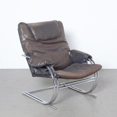 Retro fauteuil dubbel parallel chromen buisframe verlengde middelste teen bruine parachutestof stoffering jaren tachtig vervaagde canvas ondersteuning verwijderbare kussens design lounge fauteuil zitplaats