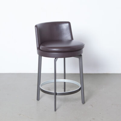 Feel Good Stool Antonio Citterio FlexForm Italy rich thick chocolate brown leather sleek dark burnished chromed aluminum legs metal frame high quality super sturdy craftsmanship heavy duty two-tone foot ring Bar Counter modern design secondhand contemporary 2010s chair seat seating
