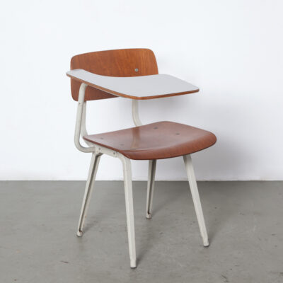 Rare Revolt Chair Desk Ahrend De Cirkel Friso Kramer 1950s fifties classic sleek timeless design vintage retro industrial Dutch design original patina 50s grey frame plywood seat back formica top powder-coated folded sheet steel school lectern tablet arm writing plateau platform