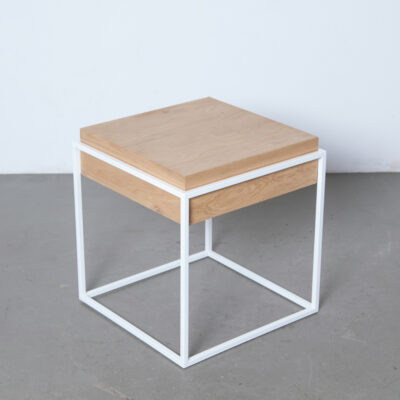 White Box-Frame Side-Table Oak storage compartment square metal-tube solid hardwax oil finish top tray bedside stand minimalist skinny industrial chic modern Danish design secondhand retro