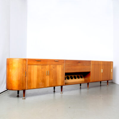 -Patijn-siteboard-dresser-round-ends-long-wine-rack-doors-drawers-brass-handels-adjustable-feet-inlay-stripe-detail-veneer-Architect-Zijlstra-Joure-1950s