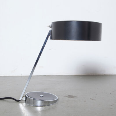 Black chrome desk light table lamp Hala built-in switch E27 office hat box pill weighted base 1960s sixties vintage retro mid-century modern Dutch design