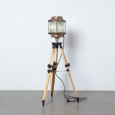 Maritime Navigation Light surveyors tripod clear fresnel glass lens cylinder splash-proof housing brass copper E27 boat ship nautical lantern lamp beacon marine land height adjustable vintage retro industrial eyecatcher