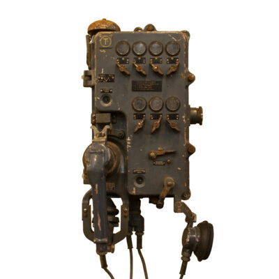 DDR/GDR eastern bloc sound powered telephone wall hung mounted industrial vintage retro phone patina cast metal factory tunnel coal mine boat ship maritime decorative object decor old rugged rough tough work environment
