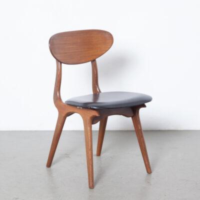Стул для столовой Louis van Teeffelen Webe, датский стиль, оригинальный цельный тик, латунь, шарнирное соединение, черный кожзаменитель skai, изогнутая спинка, голландский дизайн, винтажное ретро