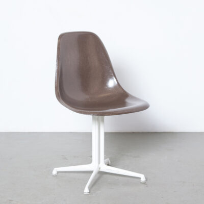Eames La Fonda Side Chair brown DSL white base Charles Ray Herman Miller USA Fiberglass 1961 cast foot original Alexander Girard mid-century modern vintage retro 1960s sixties pedestal columns cast aluminum powder-coated