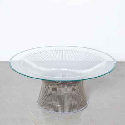 Platner Coffee Table Warren Knoll polished nickel wire welded sculptural glass flat beveled edge modernist design classic elegant purposeful striking 1960s sixties vintage retro mid-century modern