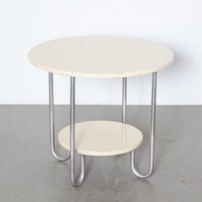 Two-tier round Bauhaus table side coffee nickel chromed tubular four J-shaped eccentric loop leg base 1930s Streamline Moderne Art Deco Marcel Breuer Columbus Rene Herbst Wolfgang Hoffmann Royal-Chrome Gispen Auping thirties vintage