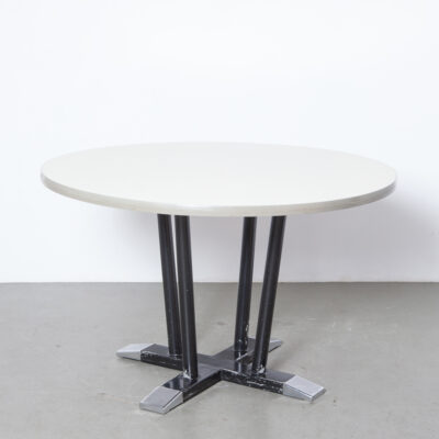 "Round ""tenentafel"" toes table Gispen Hoffman column legs cross base aluminum black beige cream formica top office conference dining dinner meeting fifties Dutch design vintage retro mid-century modern steel sturdy patina"