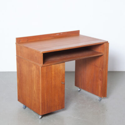 Teak desk work station sewing table wheels fold-out extension top drawers veneer key lock vintage retro mid-century modern 1960s sixties door writing swing-out supports