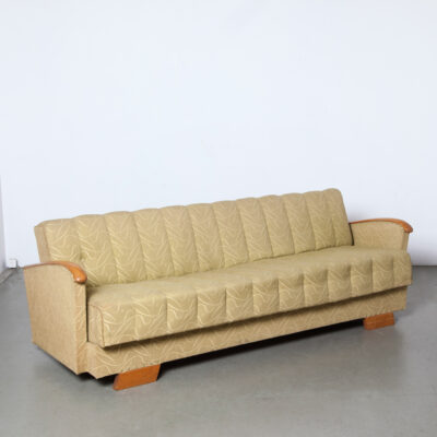 -Sofa-bed-sage-green-yellow-accent-stripe-curl-lounge-sleep-couch-storage-solid-blond-wood-armrest-50s-60s-vintage-mid-century