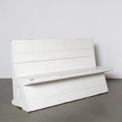 -church-bench-Dom-Hans-van-der-Laan-solid-pine-painted-white-blue-good-condition-handcrafted-production-studio-60s-wood