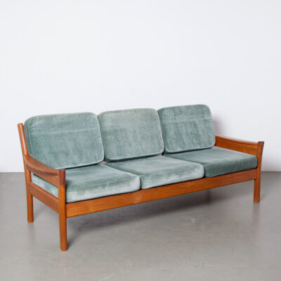 -solid-wood-teak-teal-velour-cushions-reversible-3-seater-sofa-Dyrlund-Denmark-50s-60s-vintage-Danish-mid-century