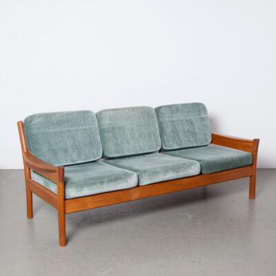 -sólido-madeira-teca-verde-azulado-veludo-almofadas-reversível-sofá-3 lugares-Dyrlund-Dinamarca-50s-60-vintage-Dinamarquês-meados do século
