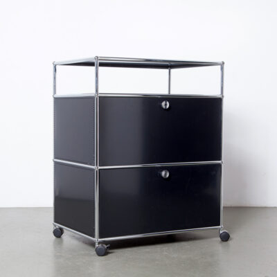-USM-Haller-System-drop-front-cabinet-Paul-Schaerer-Fritz-Haller-modular-lock-wheels-black-powder-coated-steel-chromed-tubes-file-office-work-cupboard-storage-book-shelf-vintage-60s-industrial