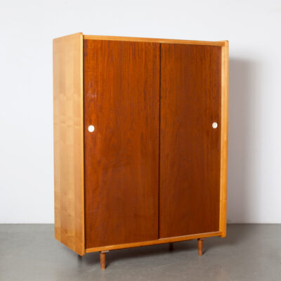 -wardrobe-flat-packed-door-teak-beach-wood-veneer-hanging-shelves-scratches-vintage-retro-mid-century-modern-fifties-storage-cupboard