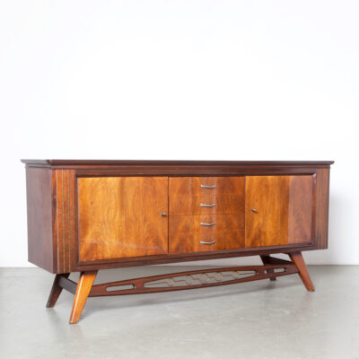 -dresser-buffet-drawers-doors-keys-mahogany-veneer-wood-pattern-circle-details-sideboard-credenza-cabinet-cupboard-50s