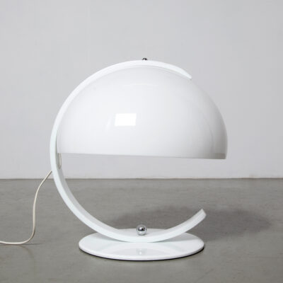 -round-circle-desk-lamp-table-E27-fitting-white-perspex-Simple-design-Luigi-Massoni-style-space-age-vintage-sixties