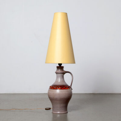 -ceramic-vase-base-brown-ribbed-decorative-red-band-handle-yellow-shade-West-Germany-style-table-lamp