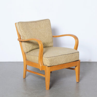-Armchair-sage-green-yellow-accent-stripe-curl-lounge-chair-solid-blond-wood-armrest-50s-60s-vintage-mid-century