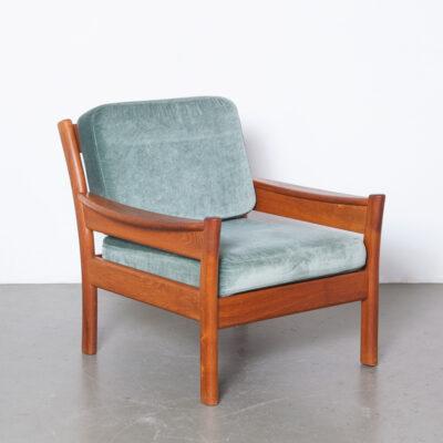 -solide-bois-teck-bleu sarcelle-coussins-velours-fauteuil-reversible-Dyrlund-Danemark-50s-60s-vintage-danois-milieu du siecle