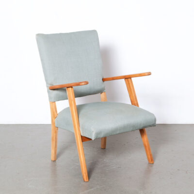 -Lady's-Armchair-Dutch-design-vintage-mid-century-blond-wood-pale-grey-blue-linnen-upholstery