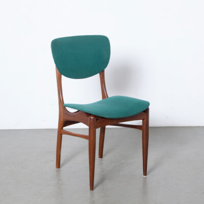 -Pynock-dining-room-chair-green-upholstery-solid-teak-organic-shapes-vintage-mid-century-netherlands-50s