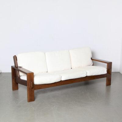 Modell-Bonanza-Sofa-Esko-Pyjamies-Asko-Rippenstoff-Weiß-Eiche-Vintage-Finnland-60er Jahre
