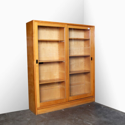 -Laboratory-cabinet-glass-Lab-Lundia-blond-wood-glass-sliding-doors-shelves-storage-vintage--industrial