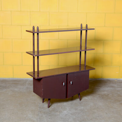 -Ретро-Книжный шкаф-Шкаф-полки-рекорд-винтаж-коричневый-двери-50-х гг.