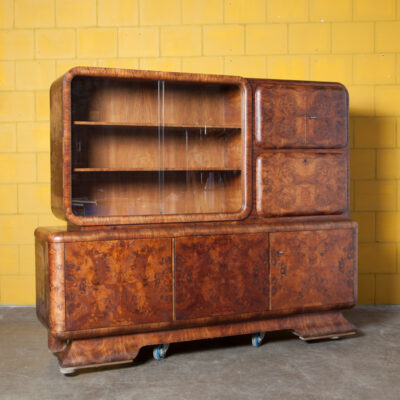 Art Deco Cabinet Wall Unit Bookcase display cupboard closet rounded shapes round edges corners glass sliding doors ground-in handle book-matched walnut veneer burl-walnut birds-eye-maple mahogany vintage retro 1930s 30s thirties storage