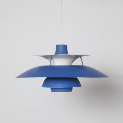 PH5 Pendant Light Poul Henningsen Louis Poulsen Denmark matt blue red accent white inside layered shades round circulair glow early Arne Jacobsen inspired Danish Scandinavian Modern Mid-Century Vintage Retro fifties 50s 1950s