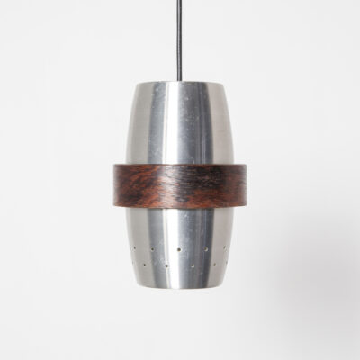 Raak hanging pendant lamp light brushed aluminum can shade holes sparkel effect outer saturn ring wood veneer vintage retro 60s 1960s sixties Jo Hammerborg inspired style Mid-century modern