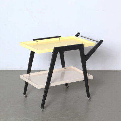 -vintage-trolley-yellow-restored-white-black-trolly-tea-serve-60s-serving-mid-century