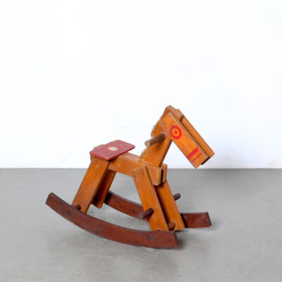 -Vintage-Rocking-Horse-handmade-mane-tail-painted-red-wood-toy-60s