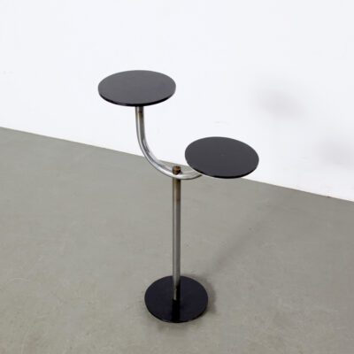 -Art-deco-plant-stand-2-levels-table-flower-black-glass-metal