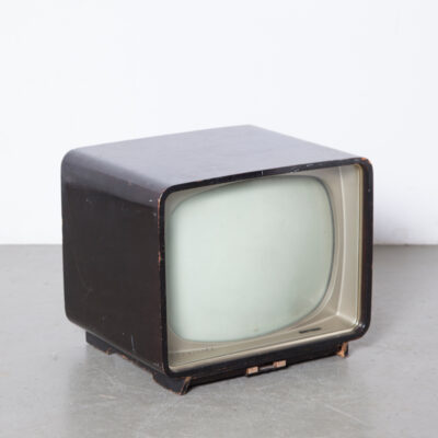 Philips TV 17TX250A tube wood case glass front black white B&W gloss black finish Valves Tubes wooden case tablemodel side table fifties 50s picture television film props rental vintage retro brocante telly mid-century modern Dutch Design