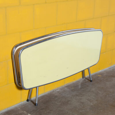 Fifties Chrome-tube Headboard pale yellow cream tubular chromed round bent bed bedroom runners brackets decor mood maker decoration film TV props rental mid-century modern retro vintage 50s 1950s