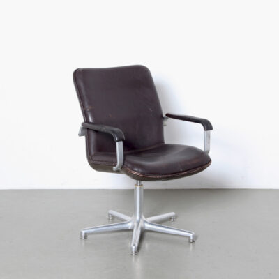 -Office-Chair-Geoffrey-Harcourt-Artifort-brown-leather-plastic-metal-desk-patina-swivel-dutch-design-70s-netherlands