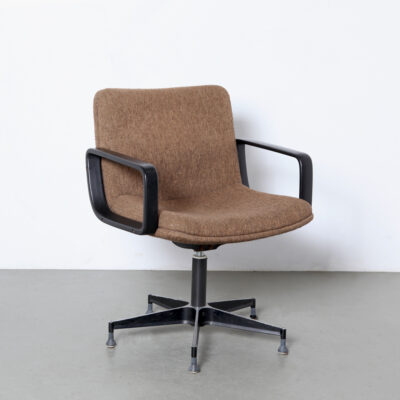 -Geoffrey-Harcourt-style-desk-chair-brown-wool-comfortable-vintage-70s-armrests