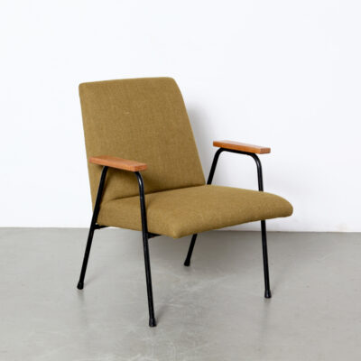 -Robert-Armchair-Pierre-Guariche-Meurop-olive-green-wood-tubular-black-60s-vintage-belgium